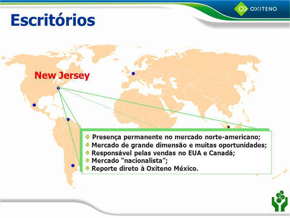 Escritórios New Jersey Presença permanente no mercado norte-americano;