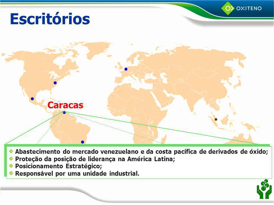 Escritórios Caracas. Abastecimento do mercado venezuelano e da costa pacífica de derivados de óxido;