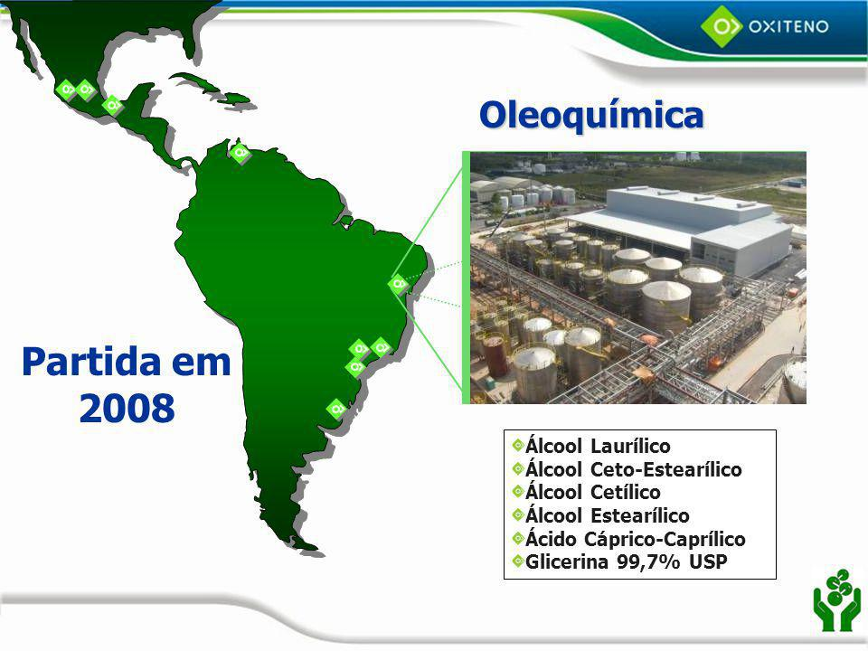 Partida em 2008 Oleoquímica Álcool Laurílico Álcool Ceto-Estearílico
