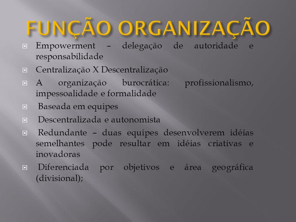 FUNÇÃO ORGANIZAÇÃO Empowerment – delegação de autoridade e responsabilidade. Centralização X Descentralização.