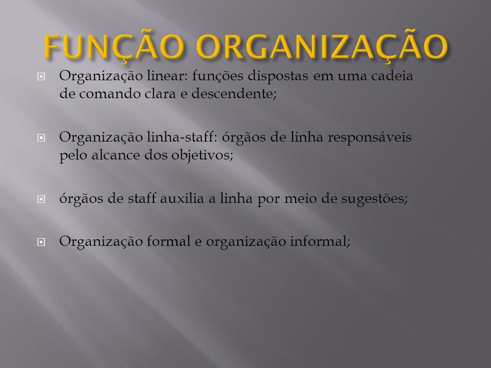 FUNÇÃO ORGANIZAÇÃO Organização linear: funções dispostas em uma cadeia de comando clara e descendente;