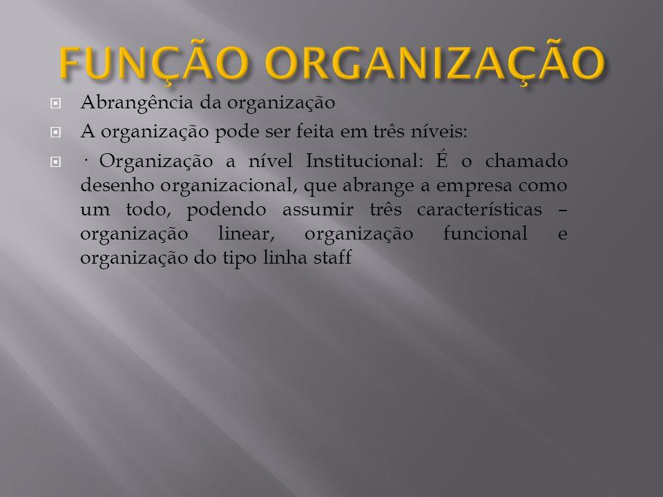 FUNÇÃO ORGANIZAÇÃO Abrangência da organização