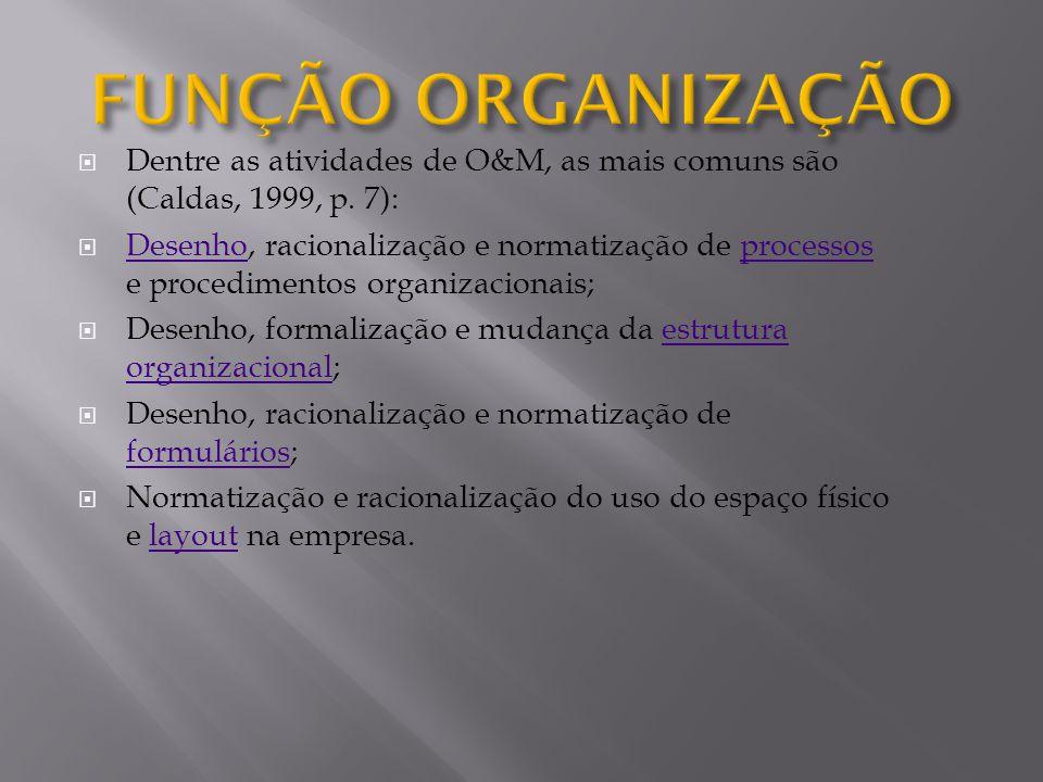 FUNÇÃO ORGANIZAÇÃO Dentre as atividades de O&M, as mais comuns são (Caldas, 1999, p. 7):