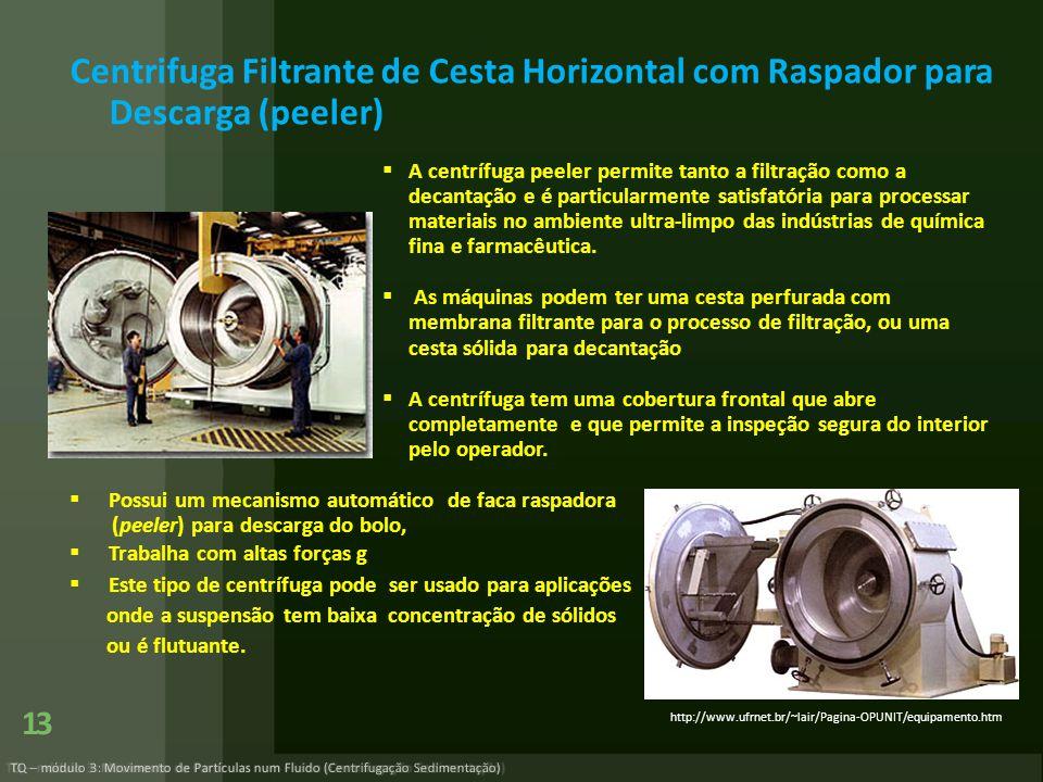 Centrifuga Filtrante de Cesta Horizontal com Raspador para Descarga (peeler)