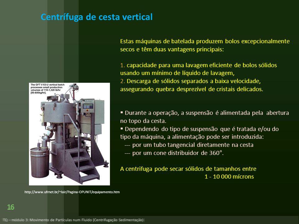 Centrífuga de cesta vertical