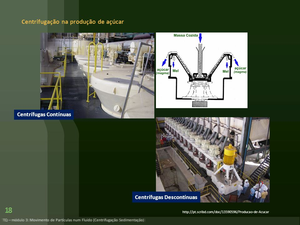 Centrifugação na produção de açúcar