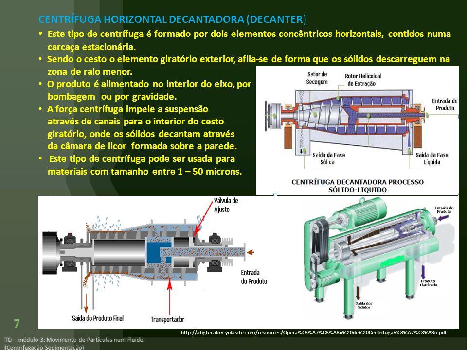 CENTRÍFUGA HORIZONTAL DECANTADORA (DECANTER)