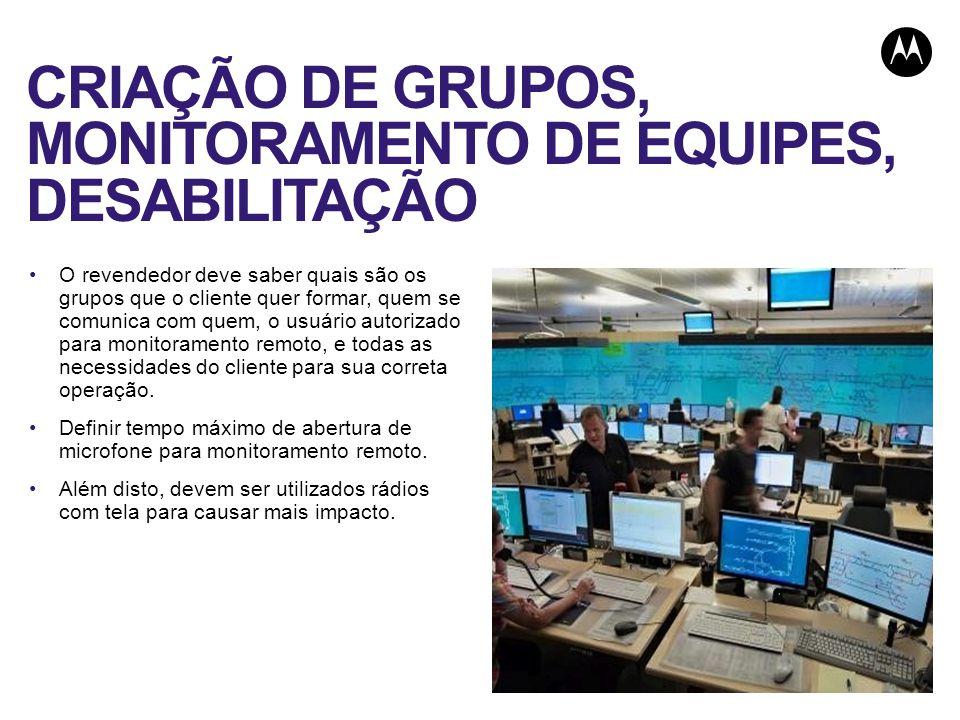 CRIAÇÃO DE GRUPOS, MONITORAMENTO DE EQUIPES, DESABILITAÇÃO
