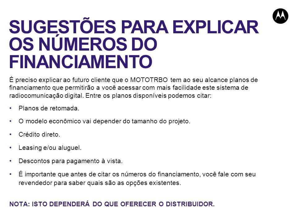SUGESTÕES PARA EXPLICAR OS NÚMEROS DO FINANCIAMENTO