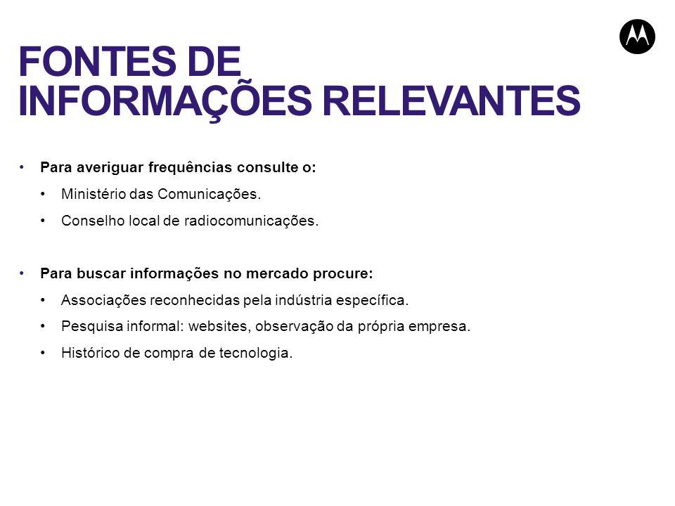 FONTES DE INFORMAÇÕES RELEVANTES