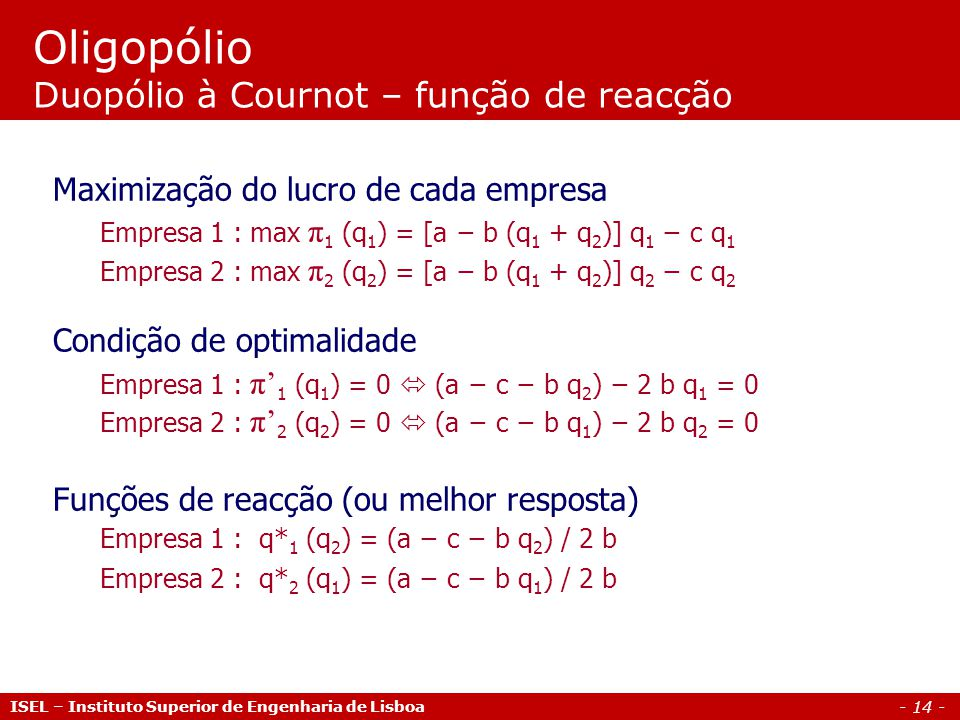 Oligopólio Duopólio à Cournot – função de reacção
