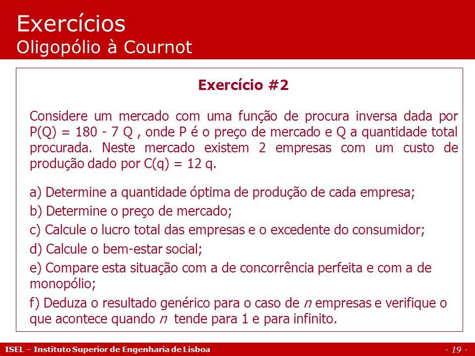 Exercícios Oligopólio à Cournot
