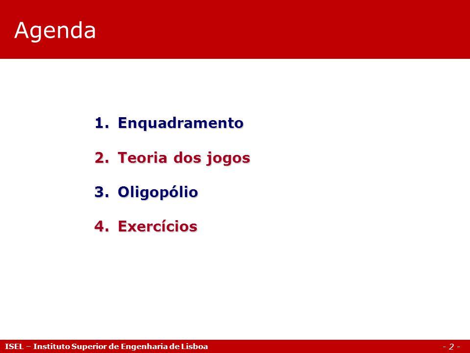 Agenda Enquadramento Teoria dos jogos Oligopólio Exercícios