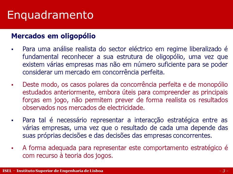 Enquadramento Mercados em oligopólio