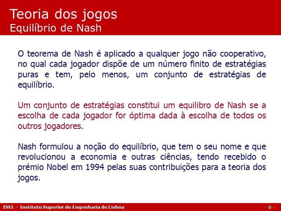 Teoria dos jogos Equilíbrio de Nash