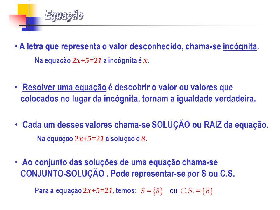 Equação A letra que representa o valor desconhecido, chama-se incógnita. Na equação 2x+5=21 a incógnita é x.