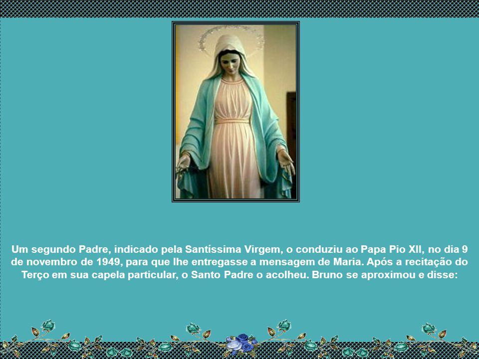 Um segundo Padre, indicado pela Santíssima Virgem, o conduziu ao Papa Pio XII, no dia 9 de novembro de 1949, para que lhe entregasse a mensagem de Maria.