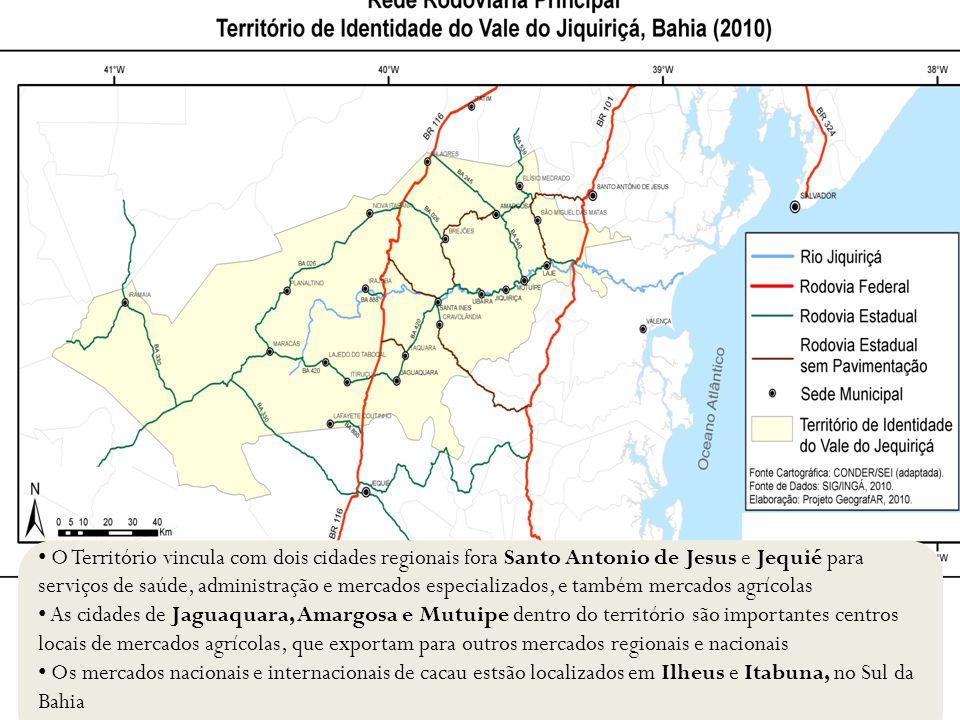 O Território vincula com dois cidades regionais fora Santo Antonio de Jesus e Jequié para serviços de saúde, administração e mercados especializados, e também mercados agrícolas