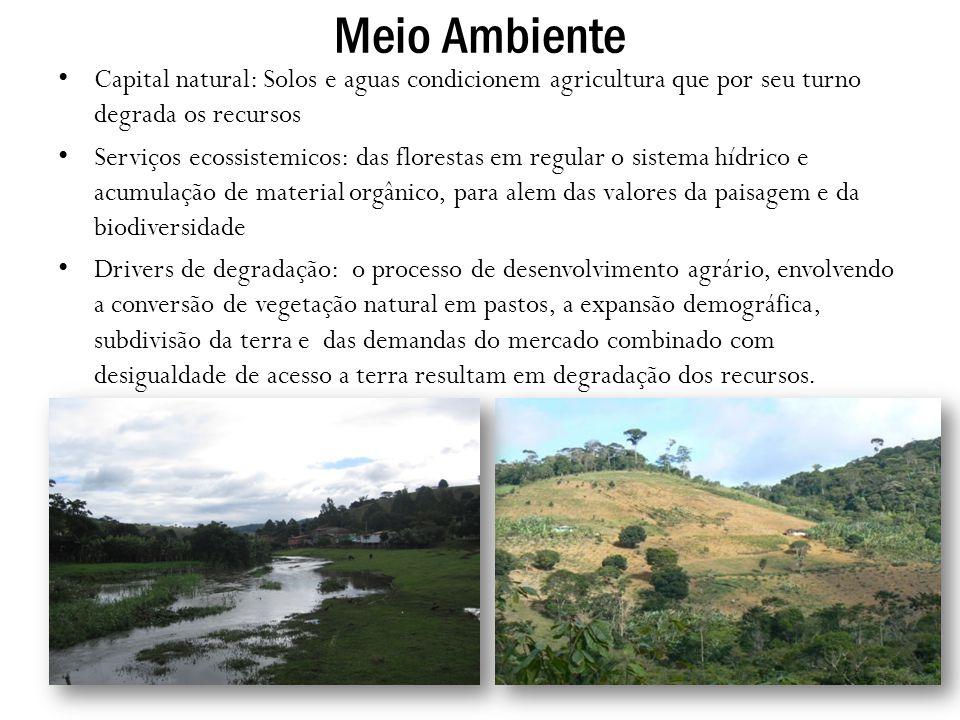 Meio Ambiente Capital natural: Solos e aguas condicionem agricultura que por seu turno degrada os recursos.