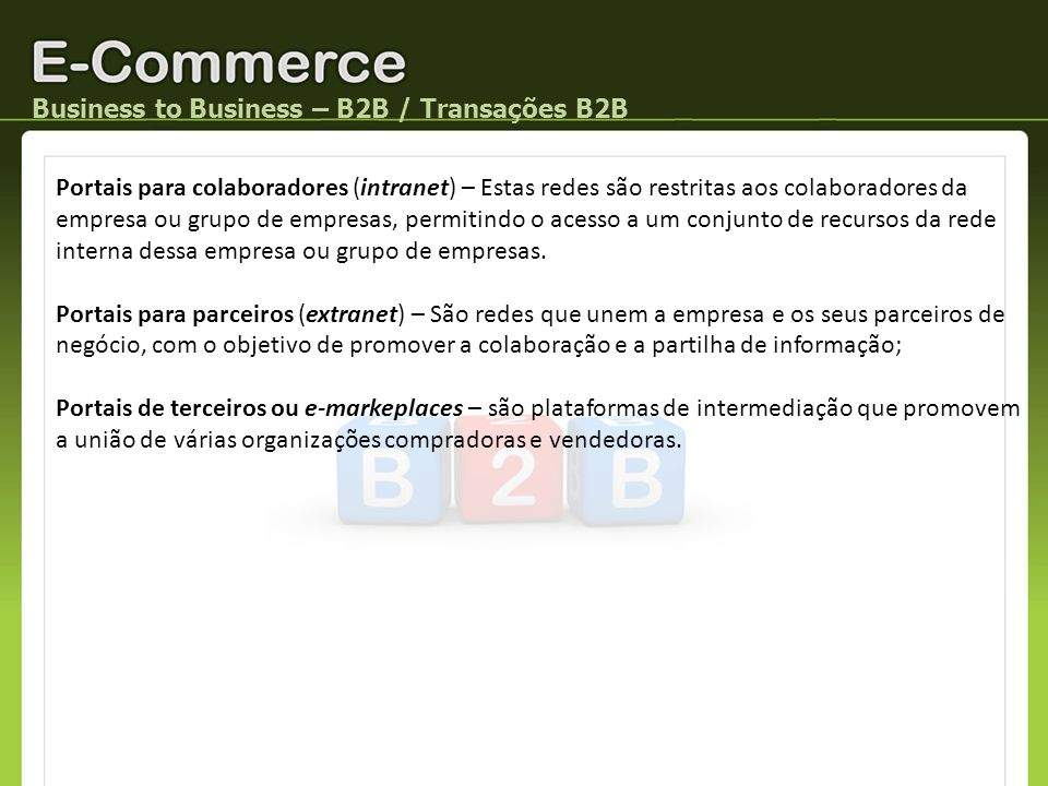 Business to Business – B2B / Transações B2B