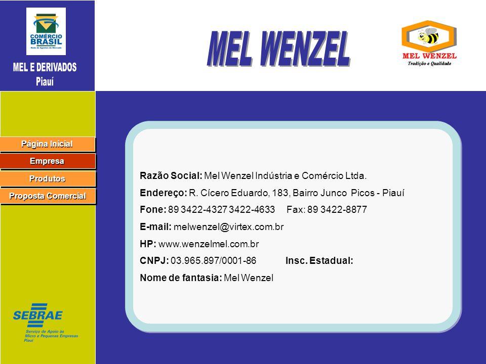 MEL WENZEL Razão Social: Mel Wenzel Indústria e Comércio Ltda.