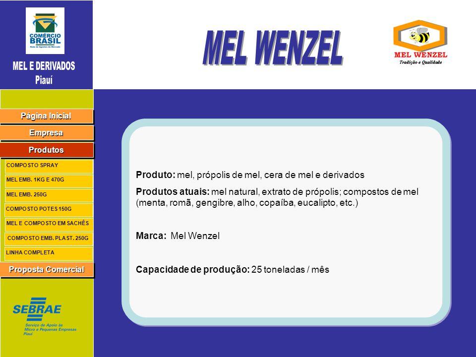 MEL WENZEL Produto: mel, própolis de mel, cera de mel e derivados