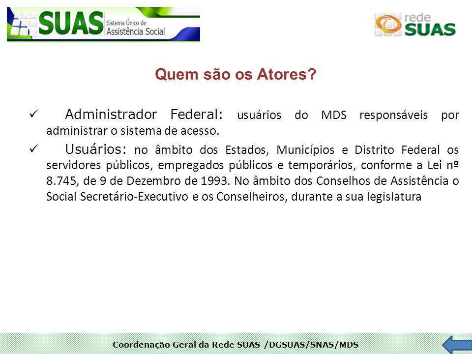 Quem são os Atores Administrador Federal: usuários do MDS responsáveis por administrar o sistema de acesso.