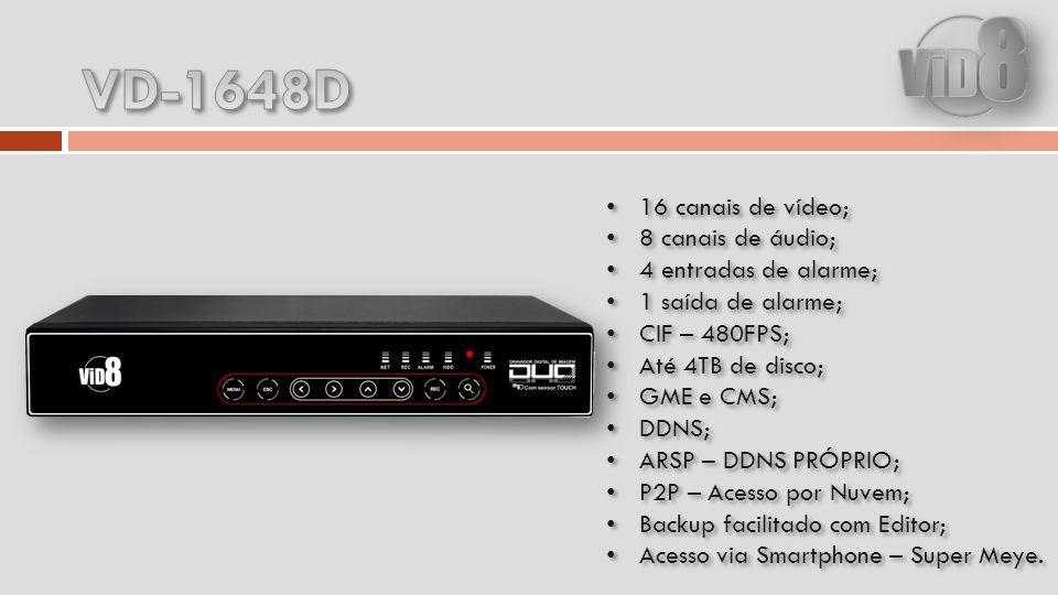 VD-1648D 16 canais de vídeo; 8 canais de áudio; 4 entradas de alarme;