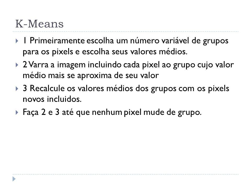 K-Means 1 Primeiramente escolha um número variável de grupos para os pixels e escolha seus valores médios.