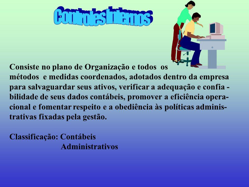 Controles Internos Consiste no plano de Organização e todos os
