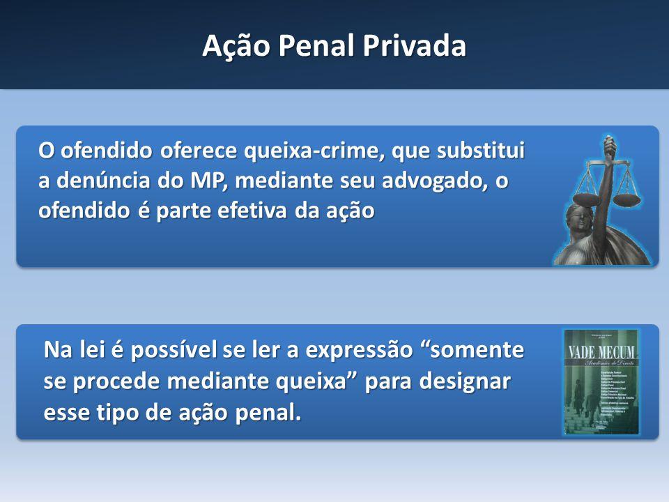 Ação Penal Privada O ofendido oferece queixa-crime, que substitui a denúncia do MP, mediante seu advogado, o ofendido é parte efetiva da ação.