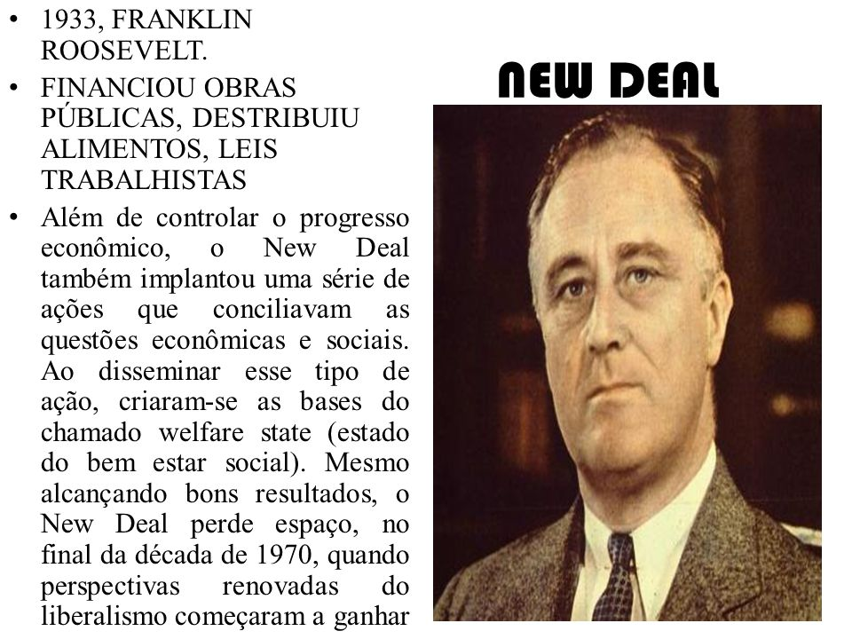 NEW DEAL 1933, FRANKLIN ROOSEVELT.