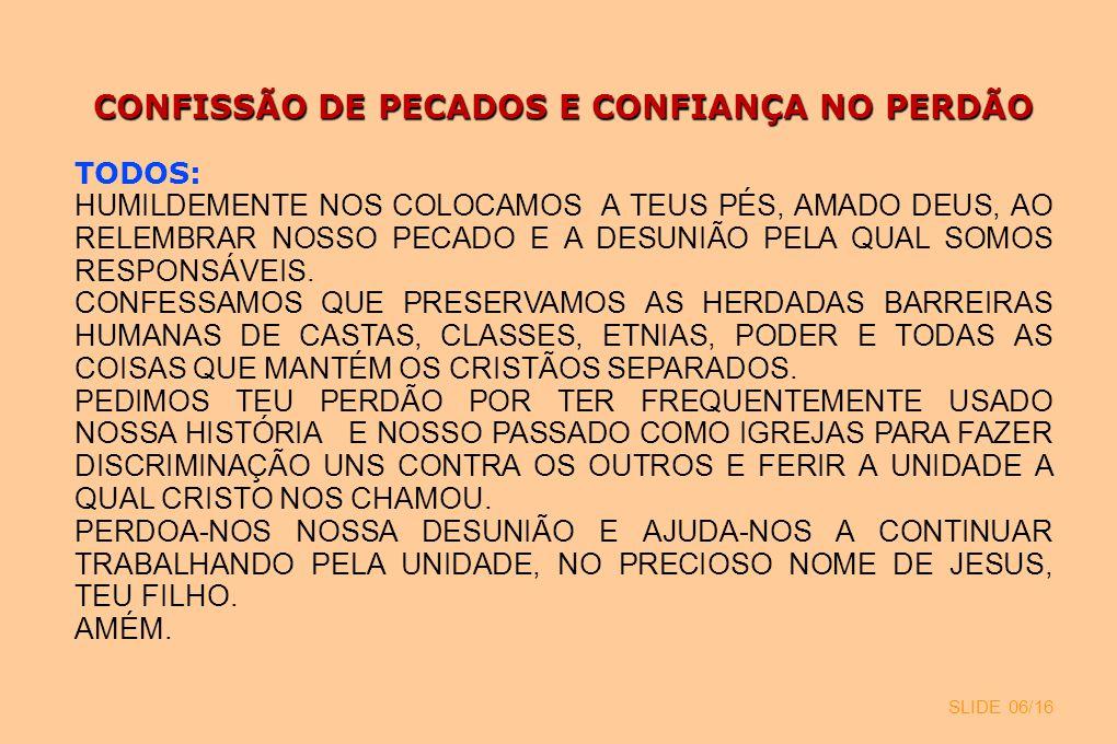 CONFISSÃO DE PECADOS E CONFIANÇA NO PERDÃO