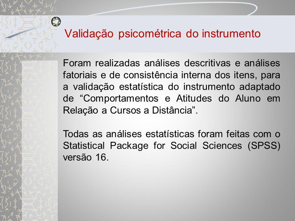 Validação psicométrica do instrumento