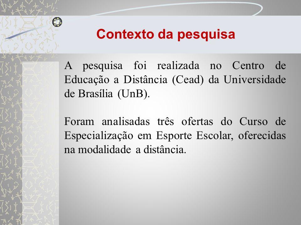 Contexto da pesquisa A pesquisa foi realizada no Centro de Educação a Distância (Cead) da Universidade de Brasília (UnB).