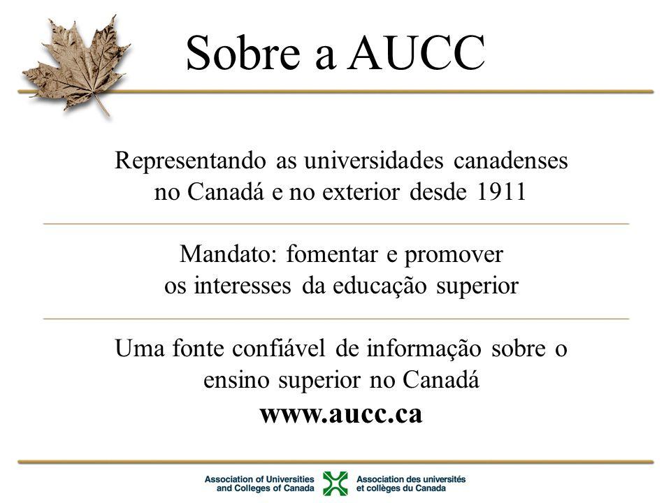 Sobre a AUCC www.aucc.ca Representando as universidades canadenses