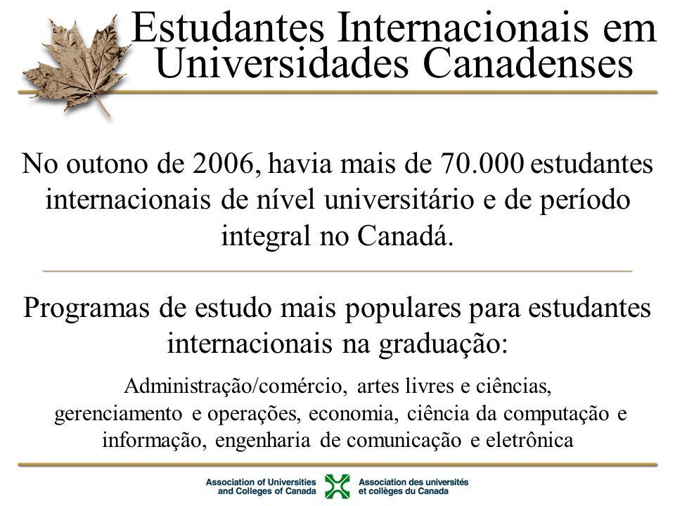 Estudantes Internacionais em Universidades Canadenses
