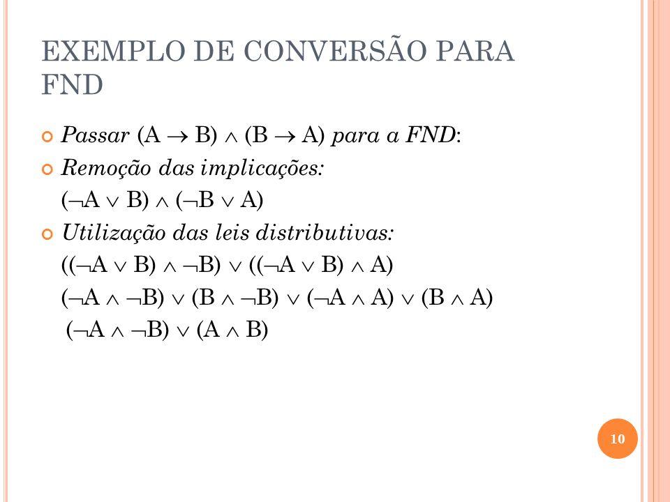 EXEMPLO DE CONVERSÃO PARA FND