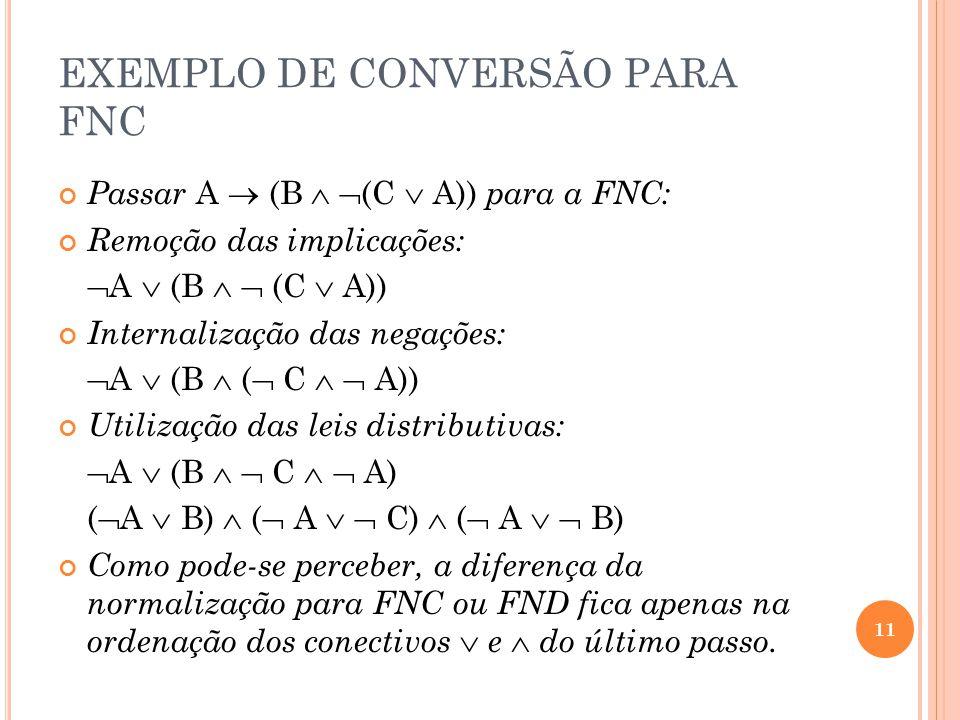 EXEMPLO DE CONVERSÃO PARA FNC