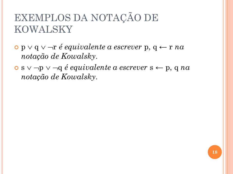EXEMPLOS DA NOTAÇÃO DE KOWALSKY
