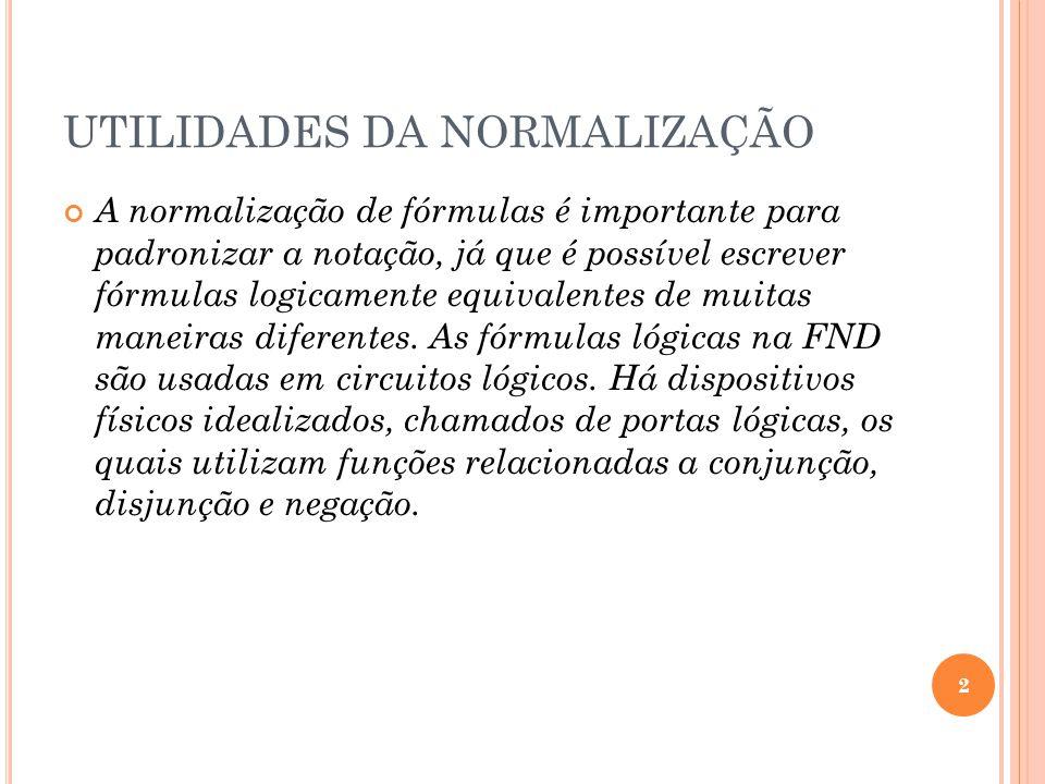 UTILIDADES DA NORMALIZAÇÃO