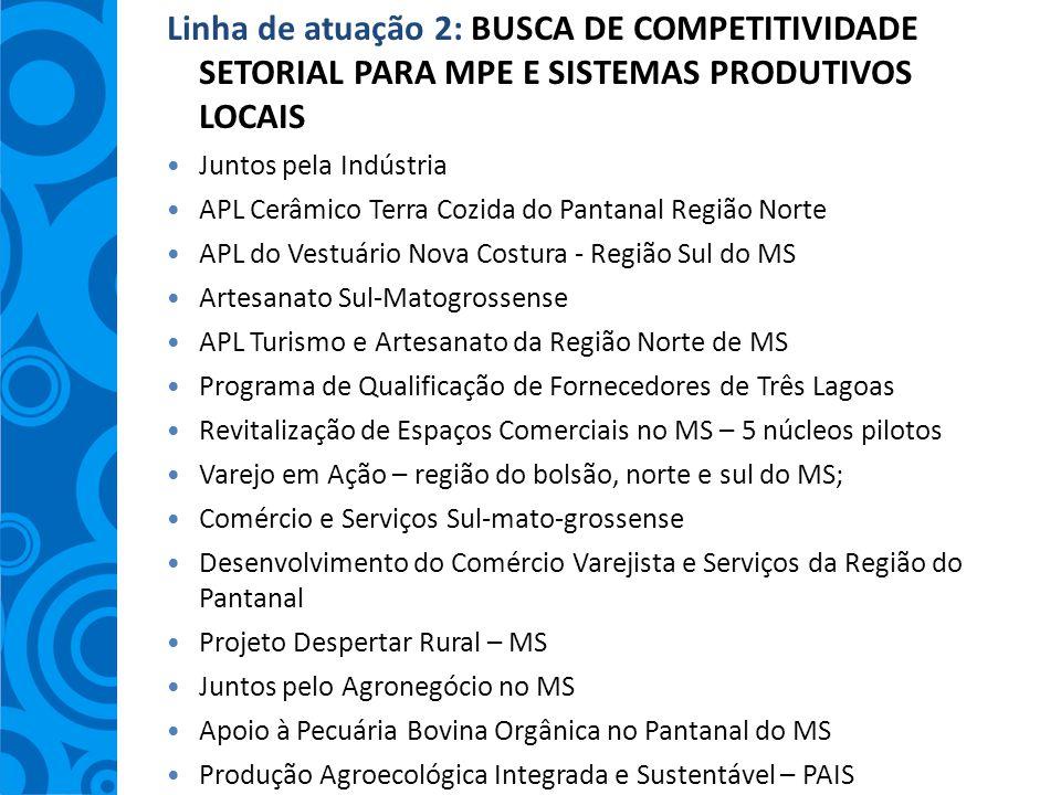 Linha de atuação 2: BUSCA DE COMPETITIVIDADE SETORIAL PARA MPE E SISTEMAS PRODUTIVOS LOCAIS