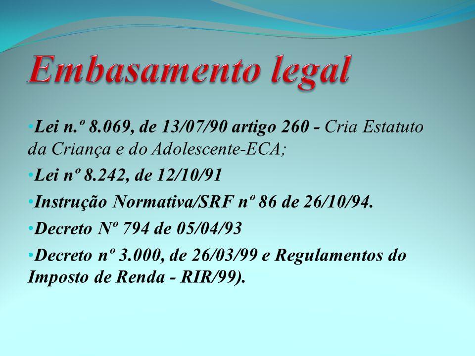 Embasamento legal Lei n.º 8.069, de 13/07/90 artigo 260 - Cria Estatuto da Criança e do Adolescente-ECA;