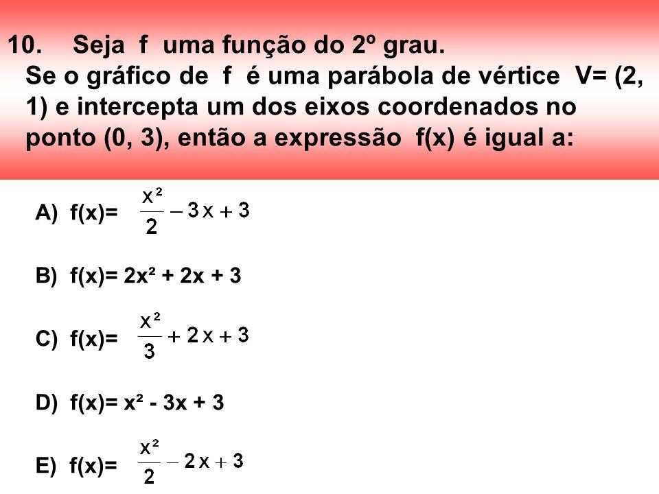 10. Seja f uma função do 2º grau