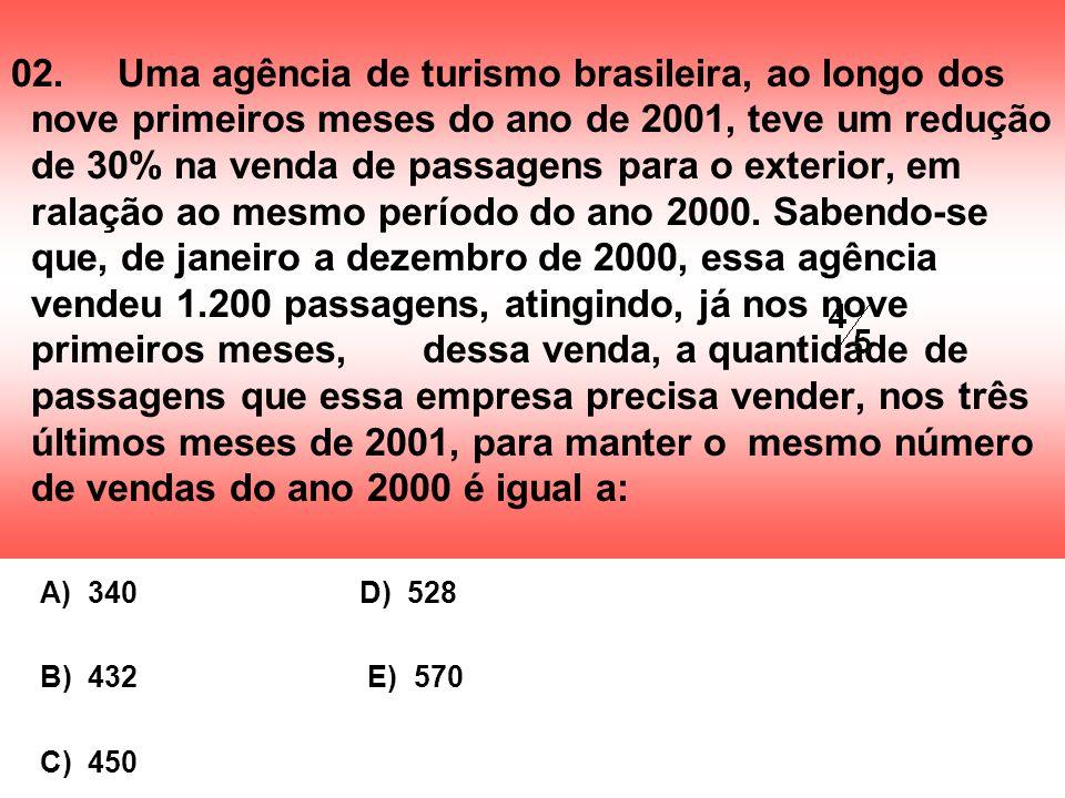 02. Uma agência de turismo brasileira, ao longo dos nove primeiros meses do ano de 2001, teve um redução de 30% na venda de passagens para o exterior, em ralação ao mesmo período do ano 2000. Sabendo-se que, de janeiro a dezembro de 2000, essa agência vendeu 1.200 passagens, atingindo, já nos nove primeiros meses, dessa venda, a quantidade de passagens que essa empresa precisa vender, nos três últimos meses de 2001, para manter o mesmo número de vendas do ano 2000 é igual a: