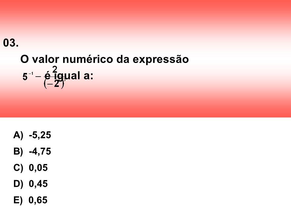 03. O valor numérico da expressão é igual a: