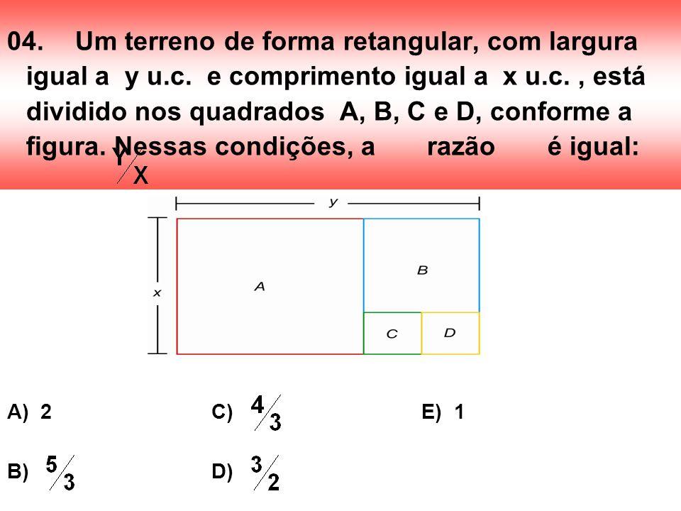 04. Um terreno de forma retangular, com largura igual a y u. c