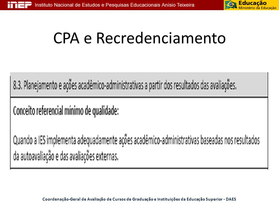 CPA e Recredenciamento