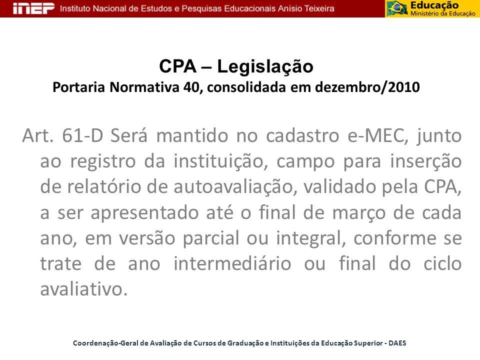 CPA – Legislação Portaria Normativa 40, consolidada em dezembro/2010