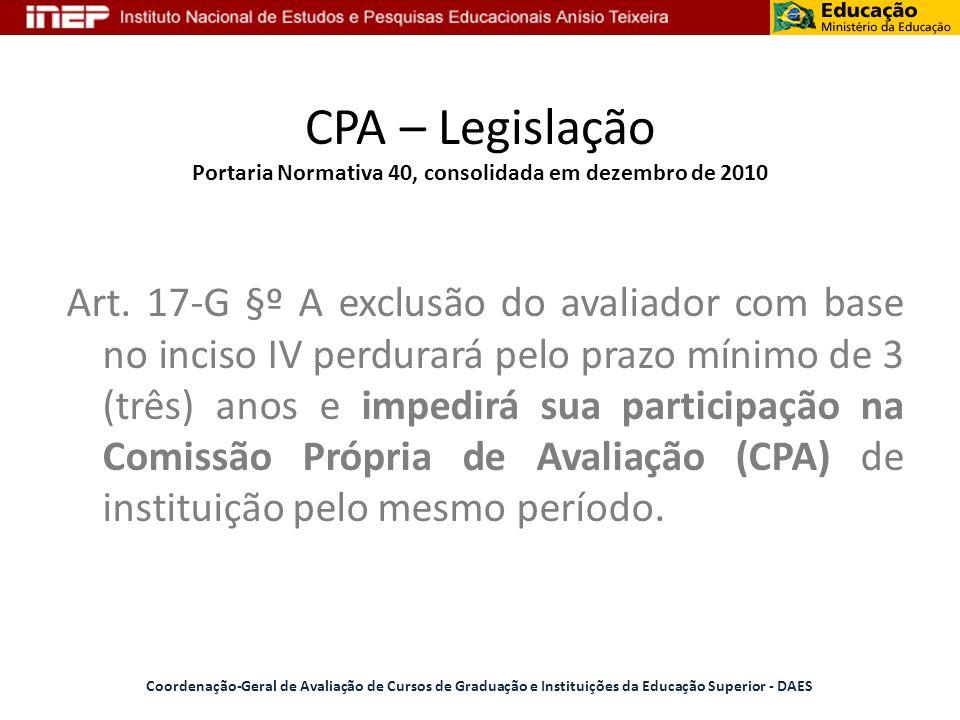 CPA – Legislação Portaria Normativa 40, consolidada em dezembro de 2010